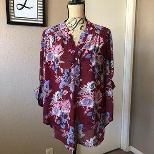 Tops - • burgundy floral blouse •